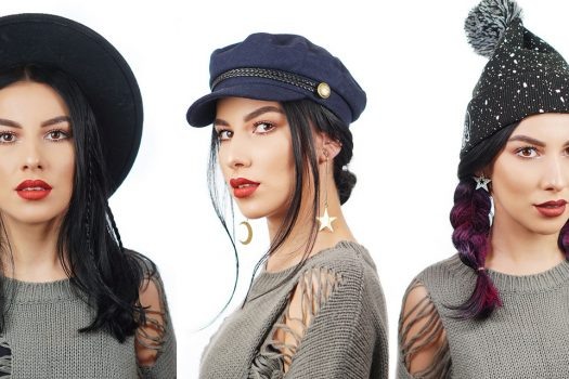3 Chic Hairstyles on Hat Hair